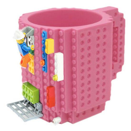 Építőkockás bögre ajándék építőelemekkel (pink)