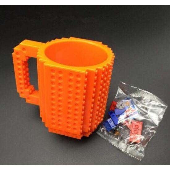 Építőkockás bögre ajándék építőelemekkel (Narancs)