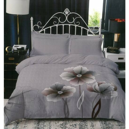 Sendia 3 részes ágynemű virág mintával (Szürke)