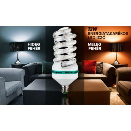 12W prémium spirál LED izzó (10 darabos csomag, E27, hideg fehér)