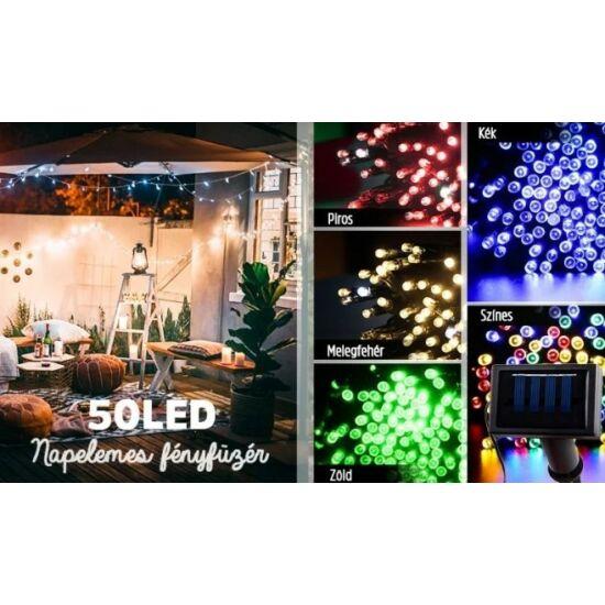 50 LED-es Kerti Solar fényfüzér (6,4m, színes)