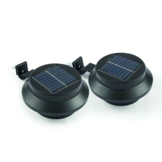 Ereszcsatornára szerelhető napelemes lámpa fekete színben