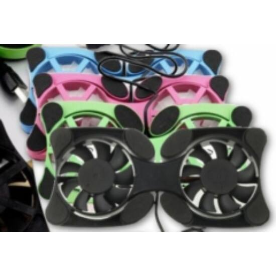 Mini laptop hűtő 2 db ventilátorral fekete színben