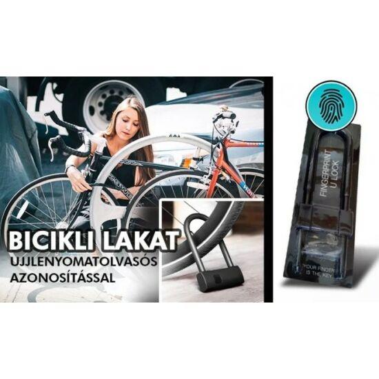 Kerékpár U-lakat ujjlenyomat olvasóval, biztonsági kulccsal