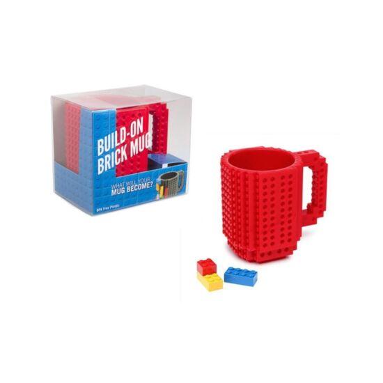 Építőkockás bögre ajándék építőelemekkel (Piros)